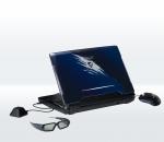 ASUS G51J 3D (din spate) alaturi de ochelarii 3D