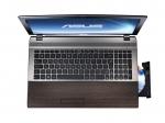 Laptop ASUS U53 Bamboo (capac deschis, vedere frontala)