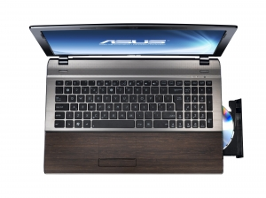 Laptop ASUS U53 Bamboo (capac deschis, vedere frontala)