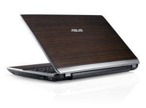 Laptop ASUS U53 Bamboo (capac deschis, vedere din spate)